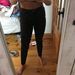 Black shiny skinny jeans